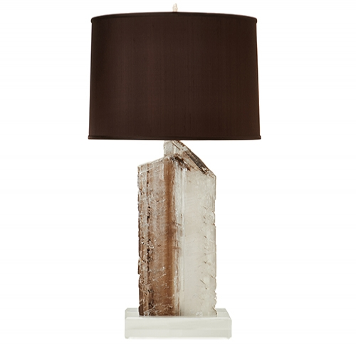 Brown Selenite Lamp on Lucite Base