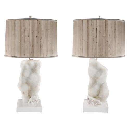 Negative Quartz Specimen Lamp Pair on Lucite Bases