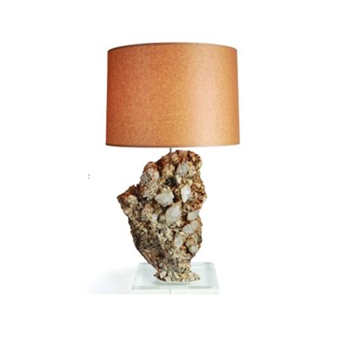 Calcite Specimen Lamp on Lucite Base Moroccan_Calcite_Specimen_Lamp_on_Lucite_Base_with_Kraft_Paper_Shade_and_Desert_Rose_Finial.jpg