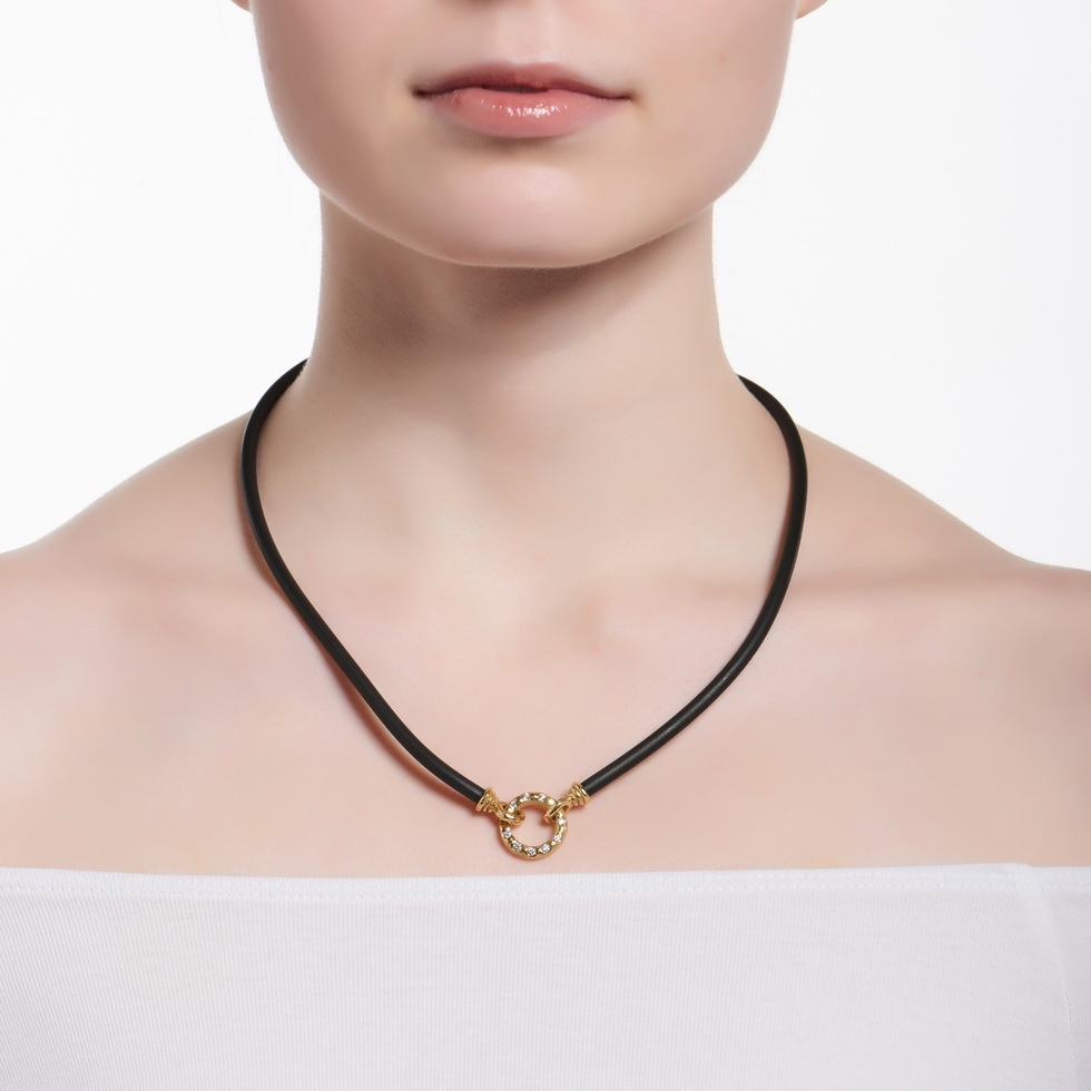 Black Rubber Necklace with Small Chinati Clasp N-1112_F-1272_on_model2.jpg
