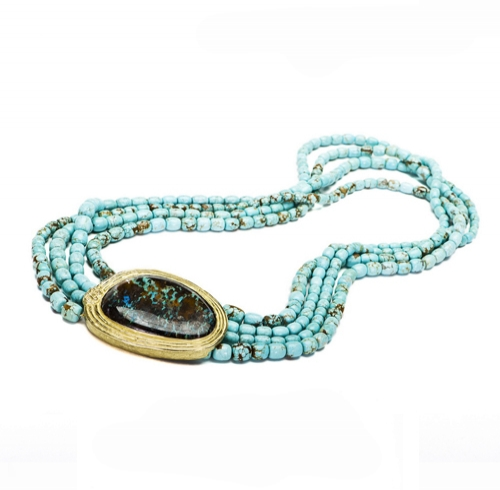 Turquoise Bead Necklace with Boulder Opal Clasp
