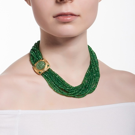 Faceted Tsavorite Bead Necklace with Carved Emerald & Diamond Clasp N-1686-10375_on_model.jpg