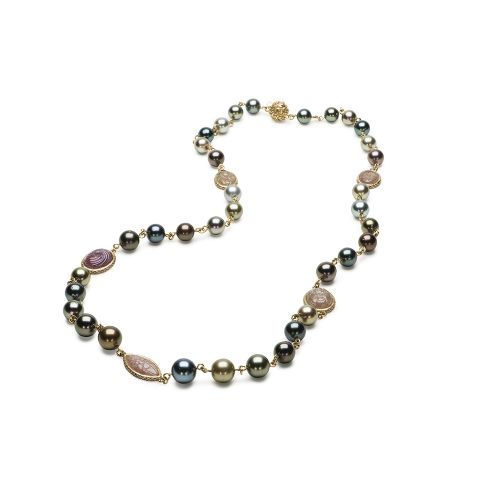 3mm Link Pearl, Carved Sapphire & Diamond Necklace