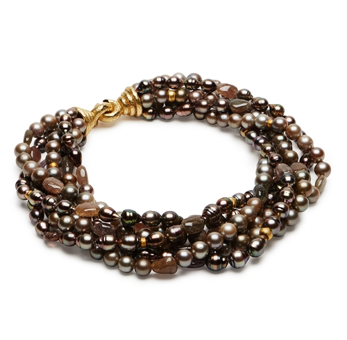 Brown Tahitian Pearl & Multi-Sapphire Bead Necklace