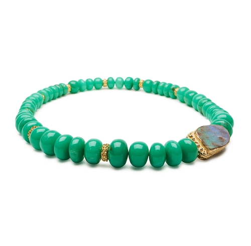 Chrysoprase Bead and Laura Rondelle Necklace with Opal Clasp