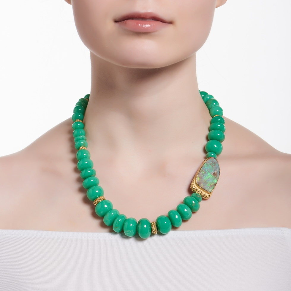 jewellery long necklace auree may gold green brushed side chrysoprase bali birthstone personalised