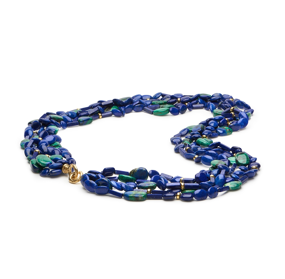 Lapis and Azurite Necklace with Extra Large