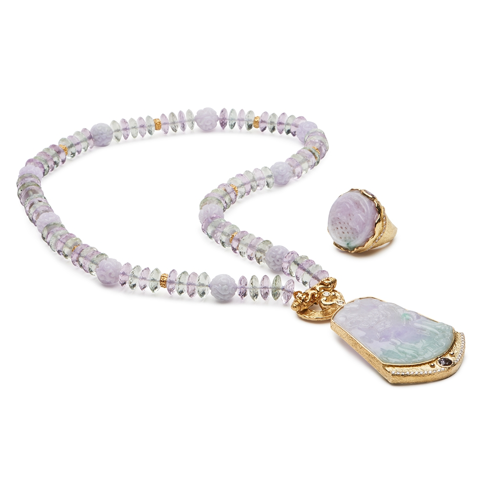 Carved Lavender and Green Amethyst Bead Necklace N-1918-12904,_D-1307-12910_R-1456-12568_Amethyst,_Jade_and_Laura_Rondelle_Necklace_with_Medium_Mimi_Toggle_Clasp_and_Jade,_Spinel_and_Diamond_Pendant_with_Ring.jpg