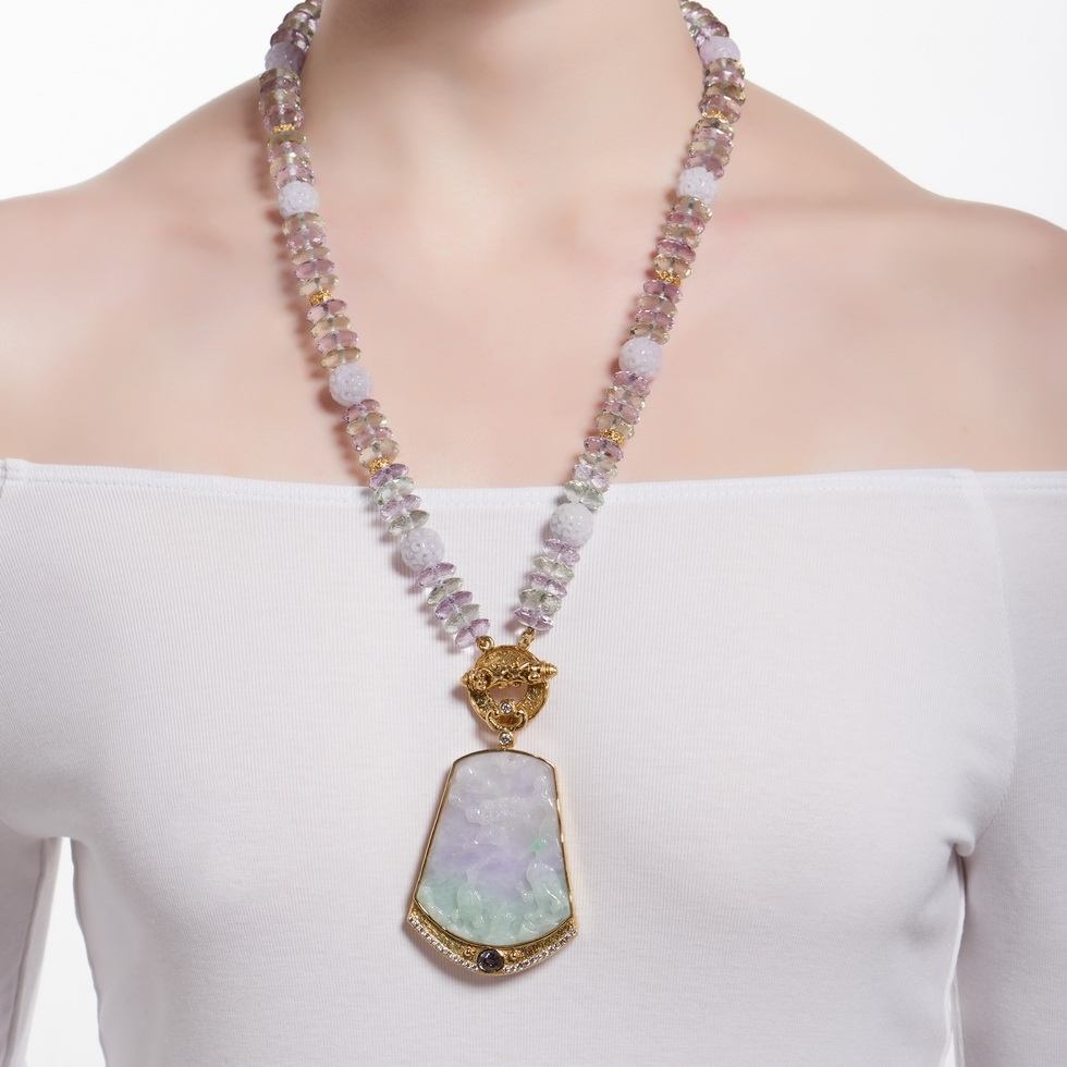 Carved Lavender and Green Amethyst Bead Necklace N-1918-12904_D-1307-12910_on_model.jpg