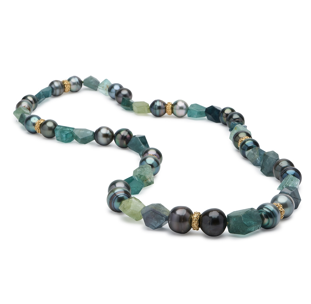 Tourmaline and Pearl Necklace with 6mm