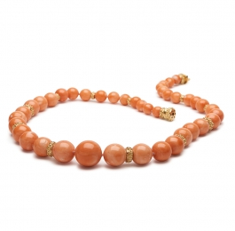 Graduated Round Coral Bead Necklace with