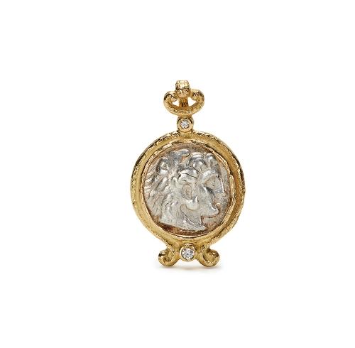 Antique Silver Coin and Diamond Pendant