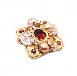 Freshwater Pearl, Tourmaline, Spinel & Diamond Brooch