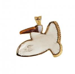 Carved Smoky Quartz, Jasper, Mokait & Diamond Pelican Pendant