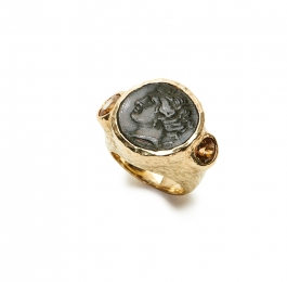 Ancient Bronze Coin & Faceted Brown Zircon Ring