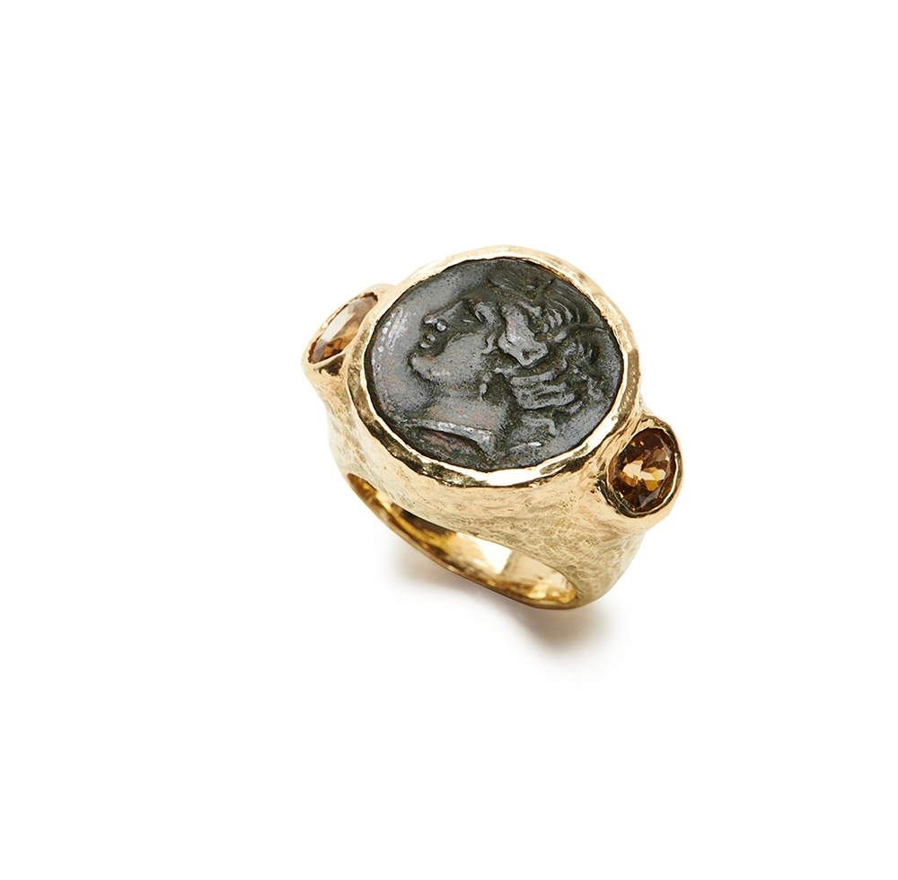 Ancient Bronze Coin & Faceted Brown Zircon Ring No._02_of_78_resized_.jpg