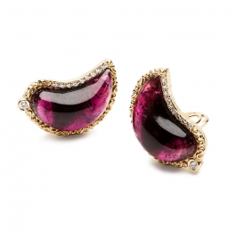 Grape Tourmaline & Diamond Earrings
