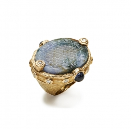 Carved Blue Burmese Jade, Violet Spinel & Diamond Ring