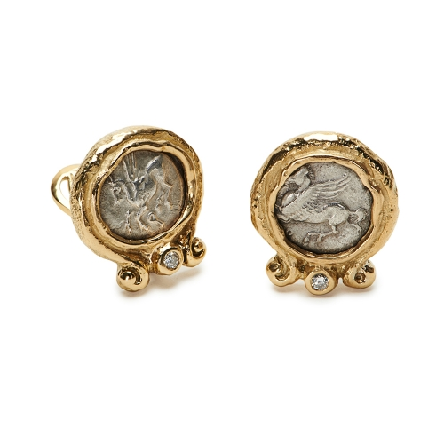 Antique Silver Coin and Diamond Earrings