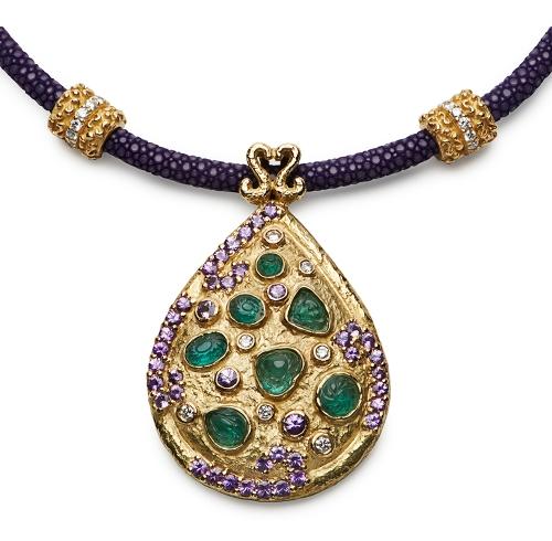 Carved Emerald, Violet Sapphire & Diamond Pendant on Lavender Stingray & Diamond Necklace