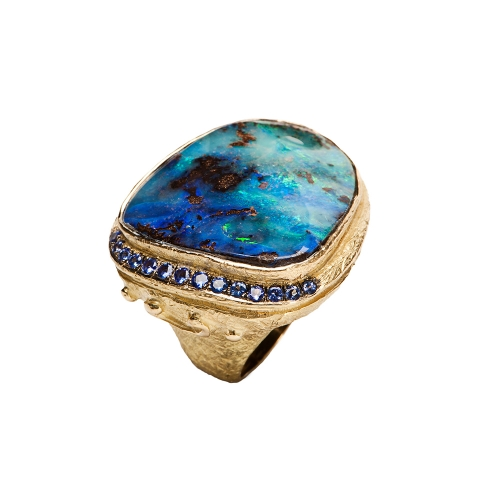 Boulder Opal & Tanzanite Ring