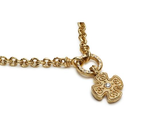 Small Mary Cross & Diamond Pendant