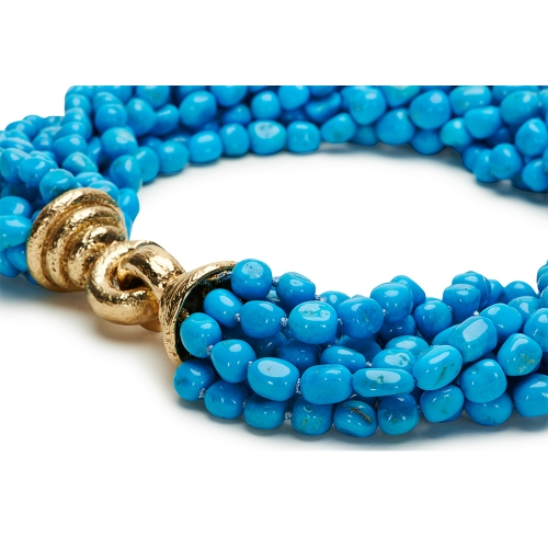 Blue Turquoise Necklace with Jumbo Chinati Clasp