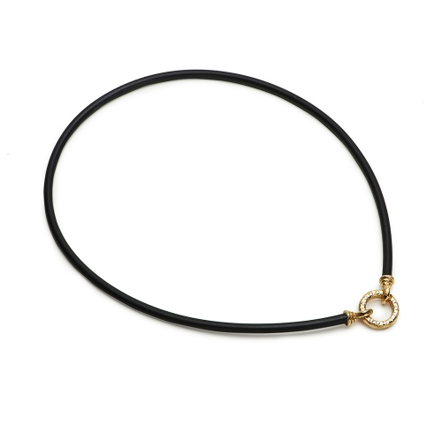 Black Rubber Necklace with Small Chinati Clasp