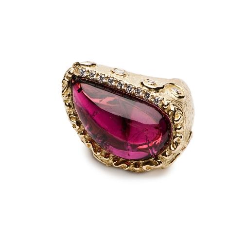 Grape Tourmaline & Diamond Ring