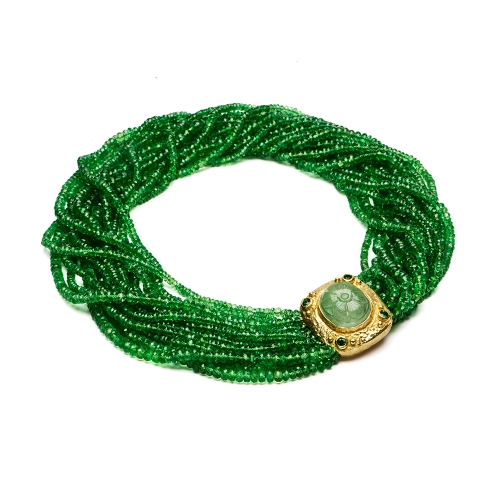 Faceted Tsavorite Bead Necklace with Carved Emerald & Diamond Clasp