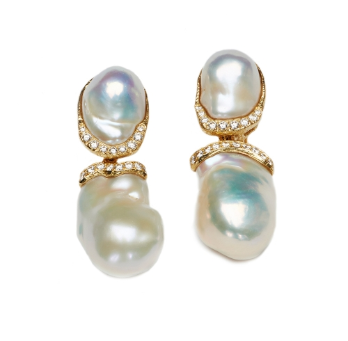 Baroque Freshwater Pearl & Diamond Earrings with Removable Drops