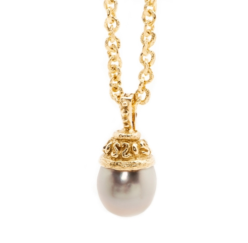 South Sea Pearl with Laura Cap on 5mm Link Necklace