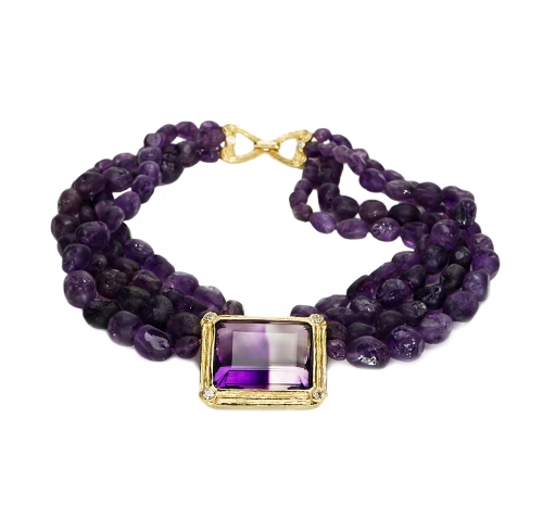 Amethyst Bead Necklace with Bi-Color Amethyst & Diamond Center & Vickie Clasp