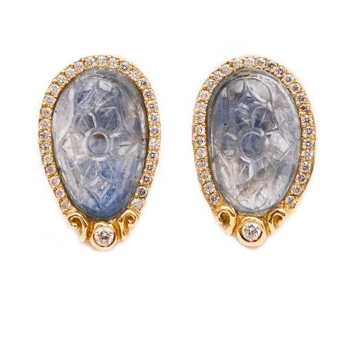 Carved Sapphire & Diamond Earrings