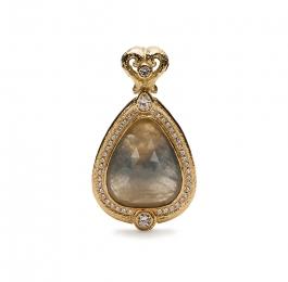 Faceted Sapphire & Diamond Pendant