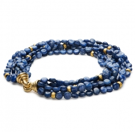 Kyanite Bead Necklace with Gold Rondelles & XXLarge Chinati Clasps