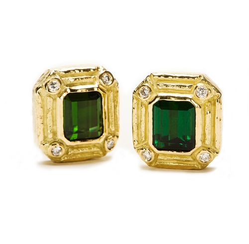 Green Tourmaline & Diamond Earrings