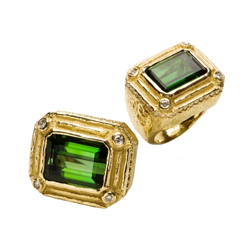 Faceted Green Tourmaline & Diamond Rings