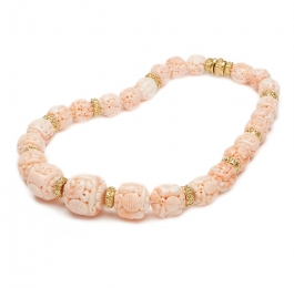 Carved Pink Coral Bead Necklace with Laura Rondelles & Laura Rondelle Clasp