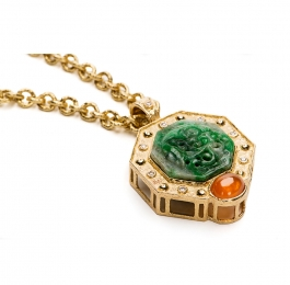 Carved Jade, Mandarin Garnet & Diamond Pendant on 8mm Link Necklace