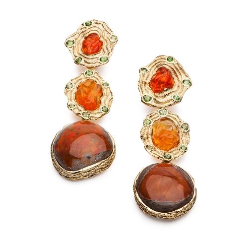 Mexican Opal, Ethiopian Opal & Demontoid Garnet Earrings