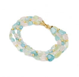 Tumbled Aqua, Prehnite & Rose Quartz Necklace with Gold Rondelles & XXLarge Chinati Clasp