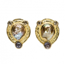 Freshwater Pearl, Spinel & Champagne Diamond Earrings