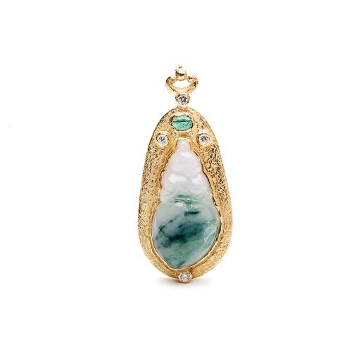 Carved Blue Jade, Blue Tourmaline & Diamond Pendant