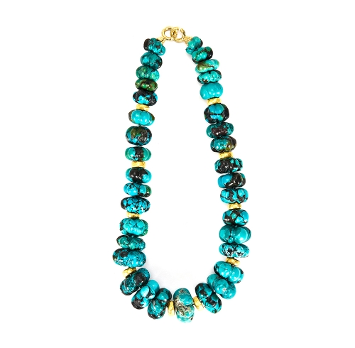 Carved Turquoise & Rondelle Necklace with Large Chinati Clasps