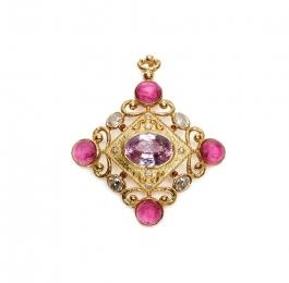 Kunzite, Pink Tourmaline, White Zircon & Diamond Pendant