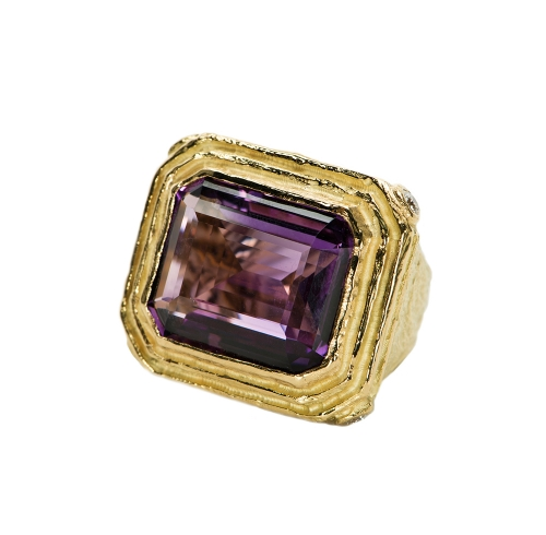 Faceted Amethyst & Diamond Ring