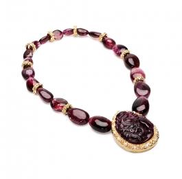 Grape Tourmaline & Diamond Necklace with Laura Rondelles