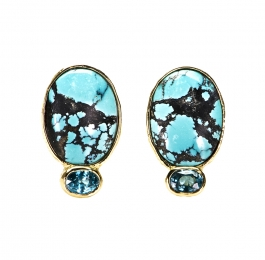 Turquoise & Zircon Earrings
