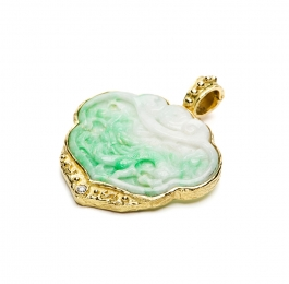 Carved Jade & Diamond Pendant